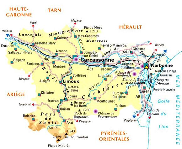Frankreich Departements Karte.Aude Im Languedoc Roussillon Südfrankreich