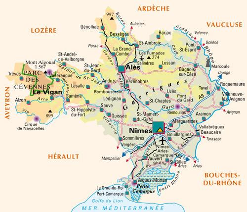 Camargue Karte.Le Gard Im Languedoc Roussillon Südfrankreich
