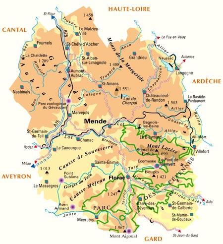 Cevennen Karte.Lozère Im Languedoc Roussillon